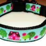 Dog Collar - Blue with Pink Houses,..