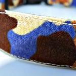 Blue Camo Dog Collar - With Brown a..