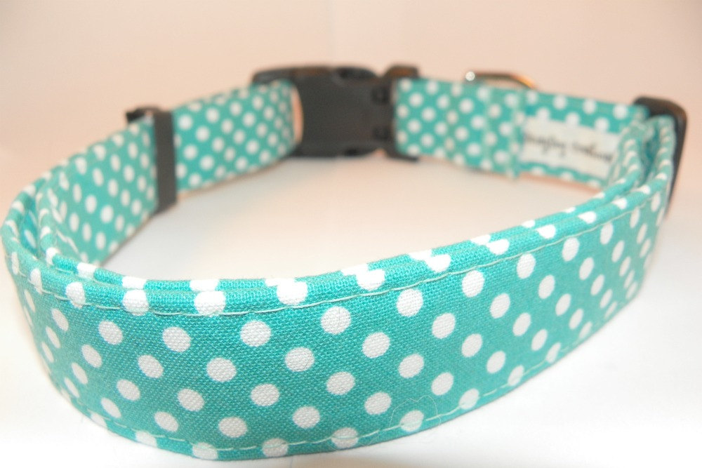 """XS Tiffany Blue Dog Collar - Turquoise with White Polka Dots XS 7-11"""""""