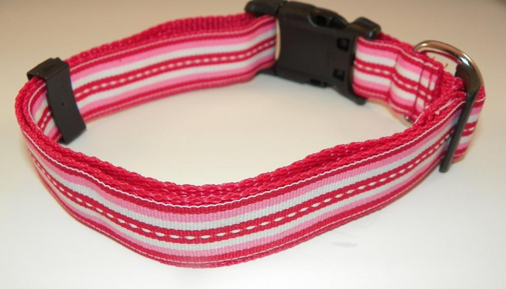 "Red, Pink & White Dog Collar - Red, White, Pink Stripes Size LG (15-24"")"