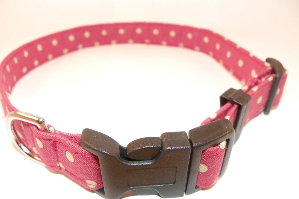 """Polka Dot Dog Collar - Red with Ivory White Polka Dots Size Large 15-24"""""""