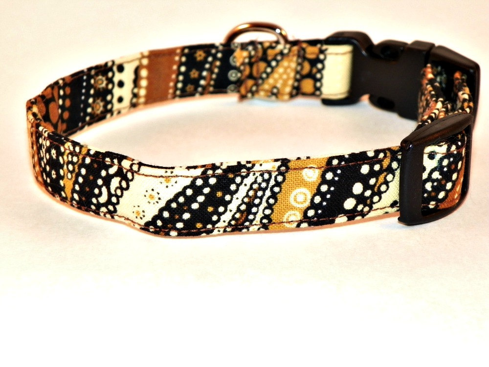 "Adjustable Dog Collar - Brown, Black and Gold Swirls & Dots Size LARGE 15-24"" --- On Sale ---"