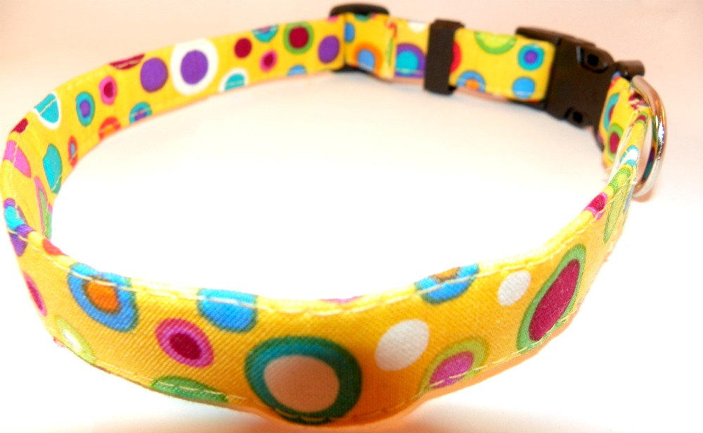 """Yellow Dog Collar - Bright Colored Shapes Summertime, Springtime, SIZE XL 17-29"""""""