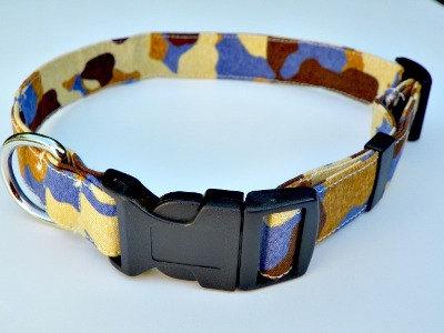"Blue Camo Dog Collar - With Brown and Tan XL 17-29"""