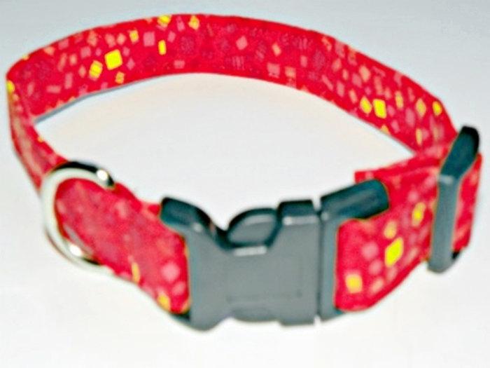 "Red Orange Dog Collar With Confetti SIZE XS 7-11"""