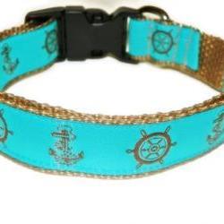 """Nautical Dog Collar - Aqua and Brown - SIZE MEDIUM 12-19"""""""