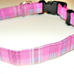 Dog Collar - Pink and Blue Plaid - Size Medium 12-19""