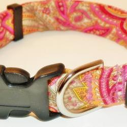 "Paisley Dog Collar - Red, Orange and Cream SIZE MEDIUM 12-19"""