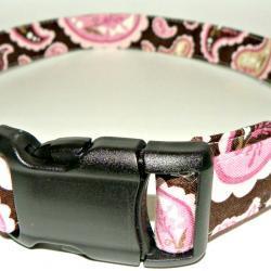 "Dog Collar - Brown & Pink Paisley MEDIUM 12-19"""