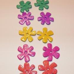 Scrapbook Embellishments - Metal, Enamal Flowers - 11 Pieces