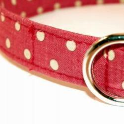 """Adjustable Dog Collar - Red with Ivory White Polka Dots Size XL 17-29"""""""