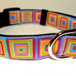 "Adjustable Dog Collar - Bright & Colorful Jacquard Ribbon Size SM (10-15"")"