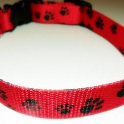 "DOG COLLAR, Red With Black Pawprints Size MEDIUM 12-19"""