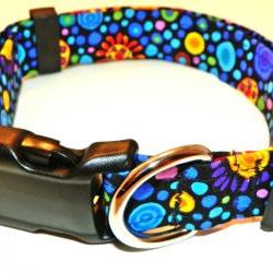 "Adjustable Dog Collar - Bright Colored Circles & Shapes on Black - Large Dog - Size LG (15-24"")"